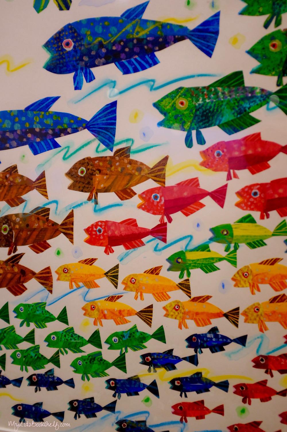 mural of fish at Eric Carle Museum of Picture Book Art