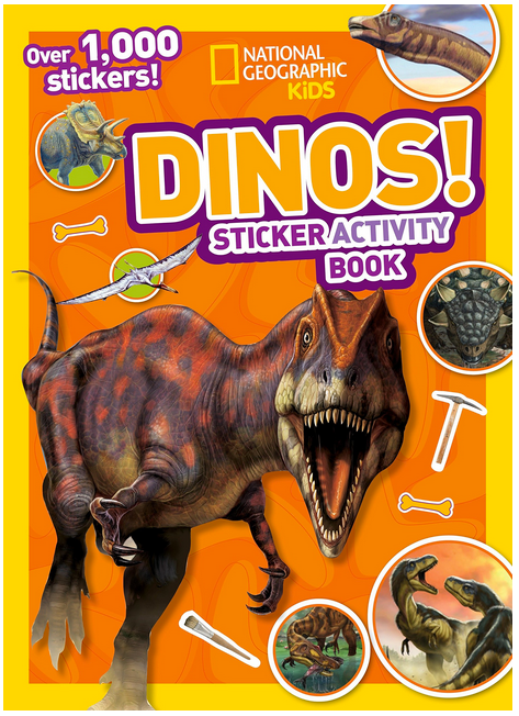 Dinos Sticker Activity book by National Geographic Kids has picture of various dinosaurs on cover featuring the T-Rex