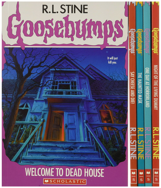 Books as boys as main characters, cover of Goosebumps books by R.L. Stine