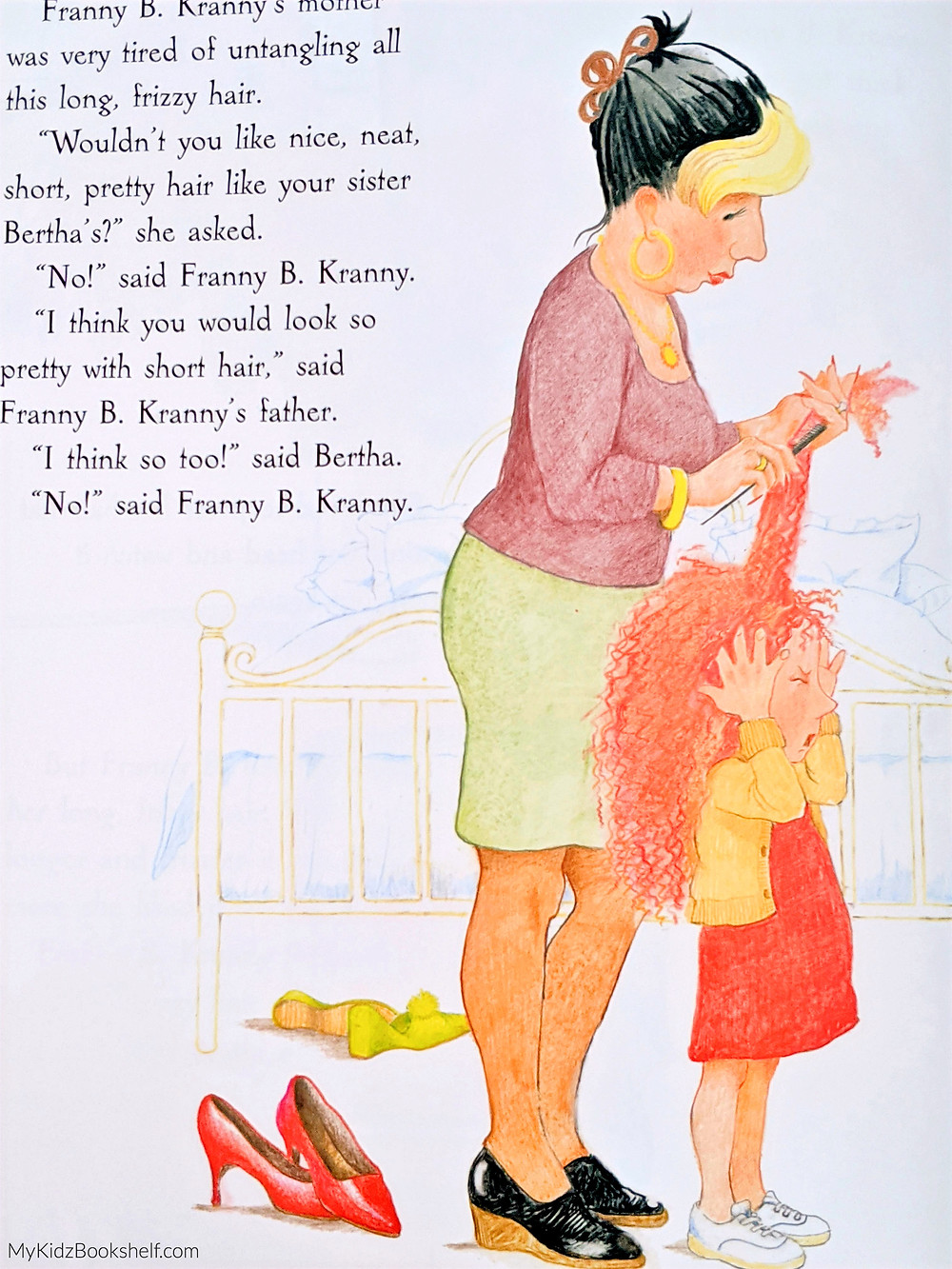 Franny B. Kranny There's A Bird in Your Hair illustration has her mom trying to comb through her long curly red hair with girl squinting eyes shut