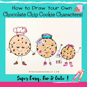 How to Draw Your Own Chocolate Chip Cookie Character illustration of chocolate chip cookies as Dad, Mom and little girl