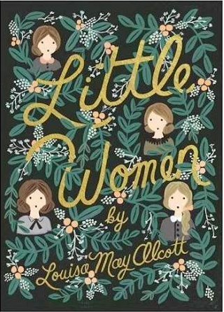 Little Women Book Cover by Louisa May Alcott with the illustrated faces of the Beth, Meg, Joe and Amy peeking out from greenery with little berries and flowers throughout