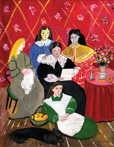 Little Women illustration by Maira Kalman from The New Yorker Magazine shows five women Jo, Beth, Meg, Amy and Marmee sitting near one another in old fashioned dresses working on tasks