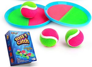 Toss and Catch game balls and paddles that are velcro and catch ball easily