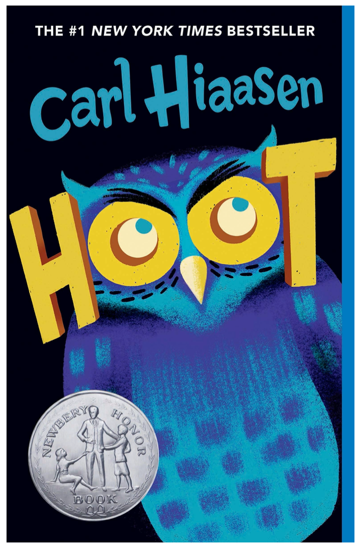 Hoot book cover with owl by Carl Hiaasen