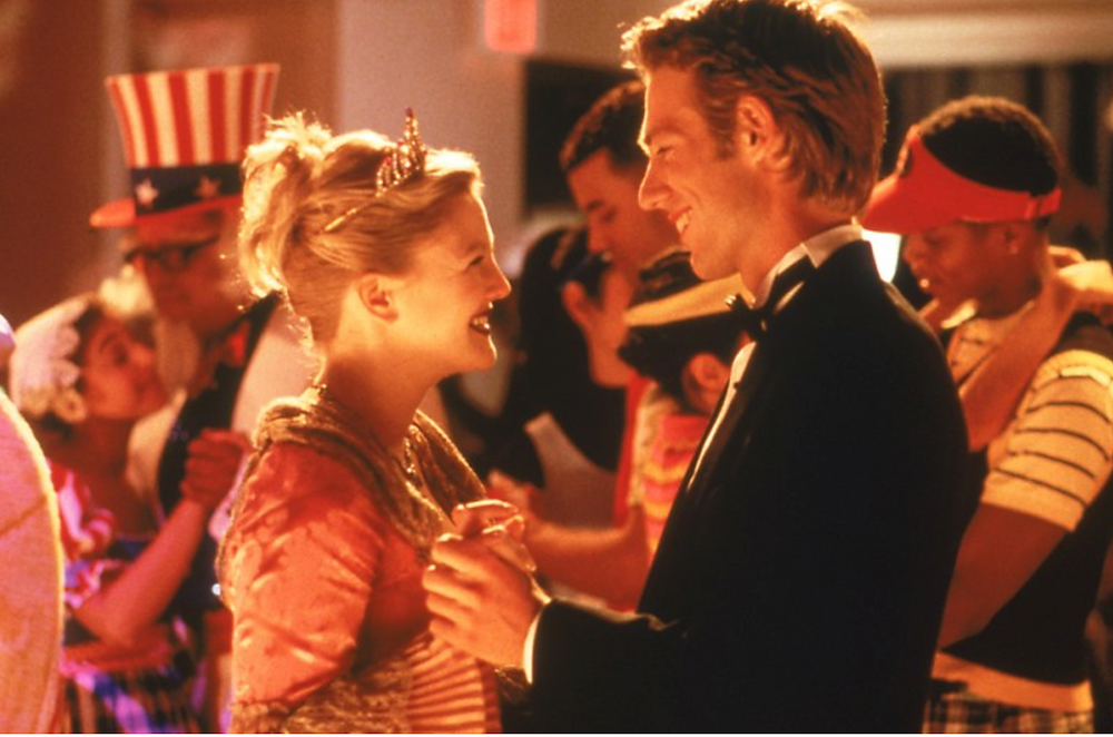 Drew Barrymore dancing with English teacher in movie scene from Never Been Kissed