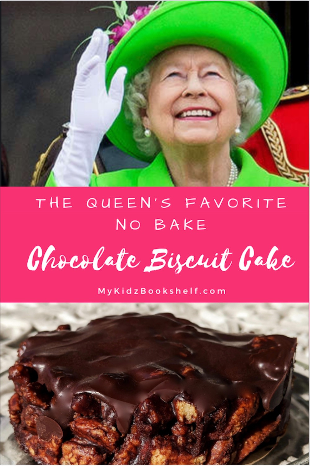 Pinterest Pin Chocolate biscuit cake a favorite of Queen Elizabeth's