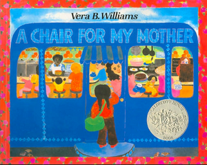Book cover for A Chair for my Mother by Vera B. Williams girl looking inside diner at her mother