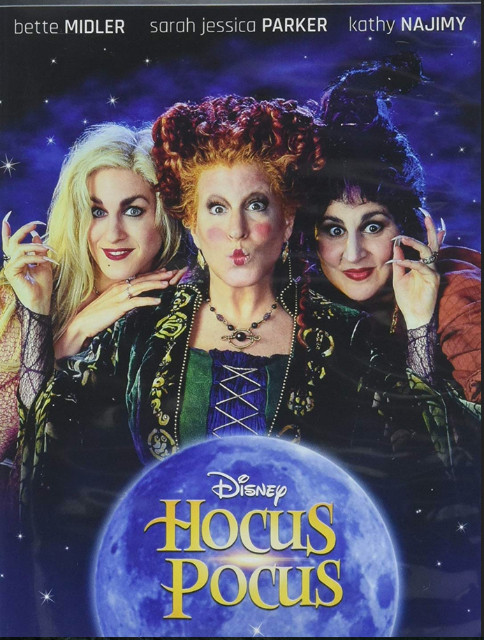 Hocus Pocus Movie Poster showing bette midler sarah jessica parker and kathy najimy witches