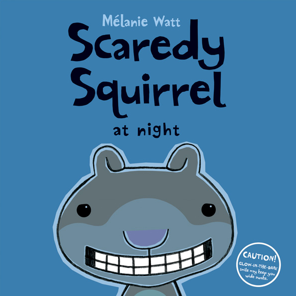 Book cover with illustration of squirrel on cover Scaredy Squirrel at night by Melanie Watt