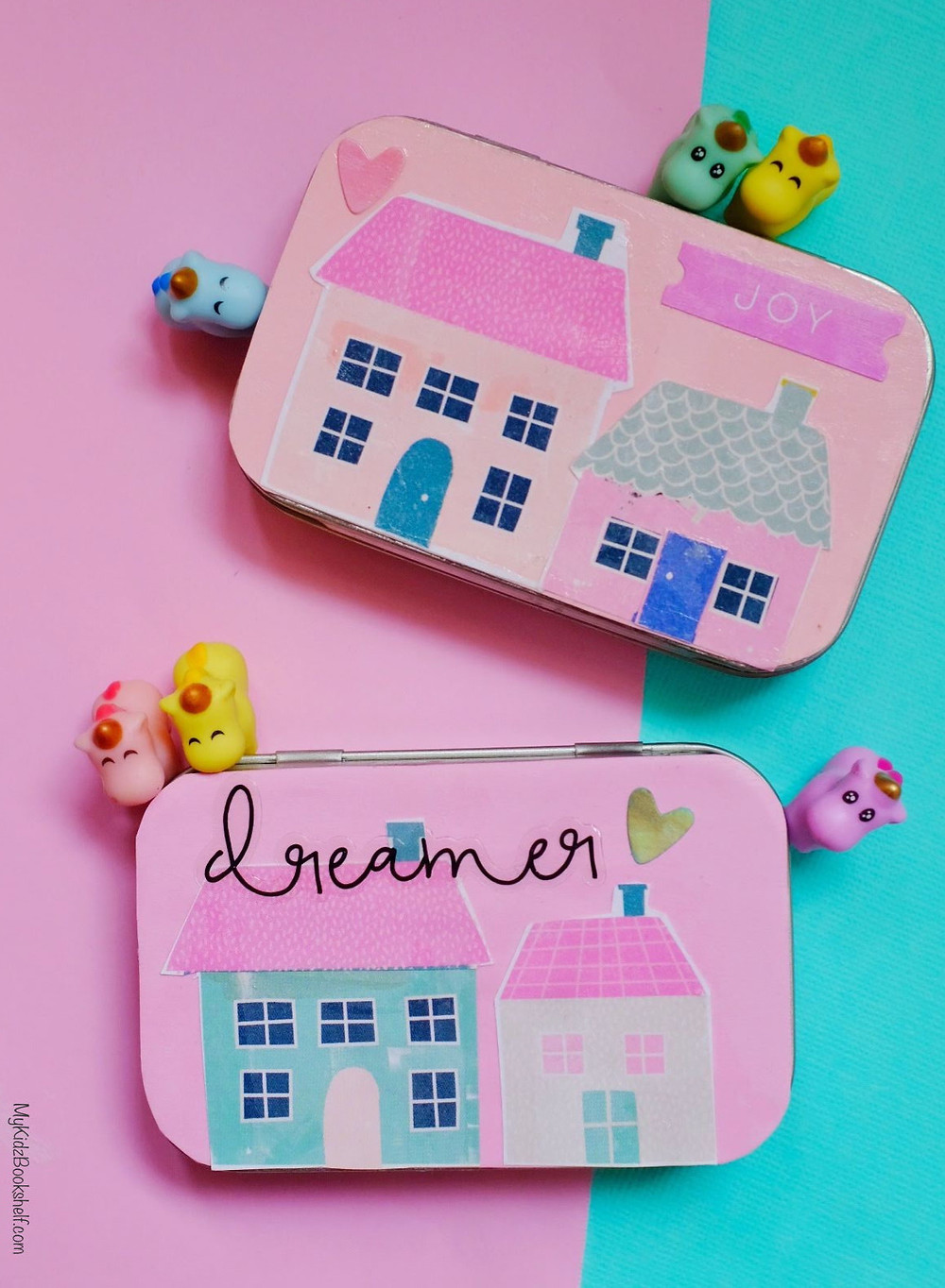 DIY Tiny House Tin Altoid mint tin tutorial with decorated with paper house and little unicorns