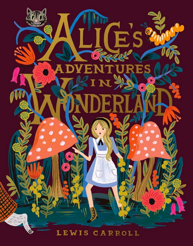 Alice in Wonderland by Lewis Carrroll book cover with Alice surrounded by mushrooms and other plants with Cheshire cat had in upper corner