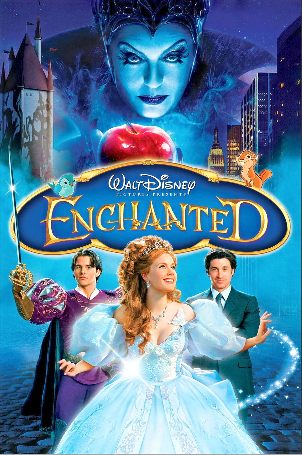 Movie poster Walt Disney Enchanted with evil queen and Giselle and her two princes