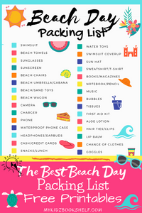 Beach Day Packing List Pin for Pinterest with fun colorful beach graphics from My Kidz Bookshelf