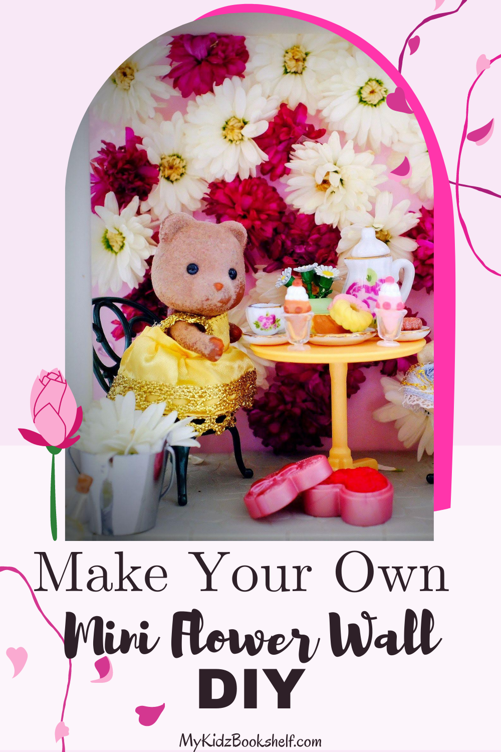 Pinterest pin flower wall with Calico Critters Sylvanian Families sitting and having a tea party in front of flower wall