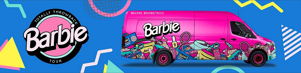 Totally Throwback Barbie Tour Van has pic of super hot pink van with Barbie logo and merchandise pics on outside