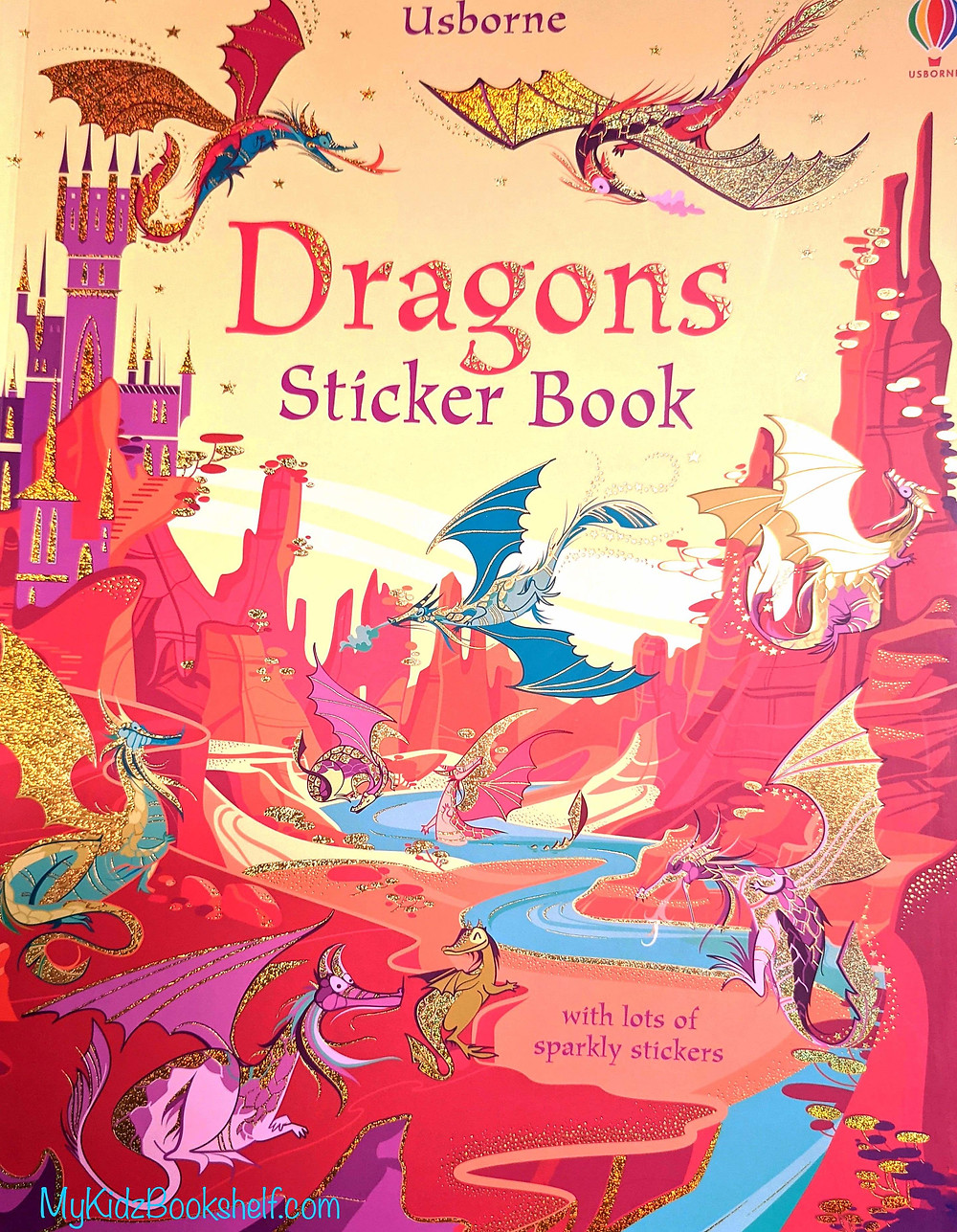 Usborne Dragons Sticker Book for kids with dragons flying around a castle