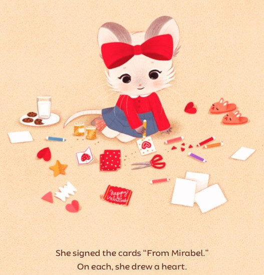 Mirabel's Missing Valentines book illustration with mouse sitting on floor making valentines
