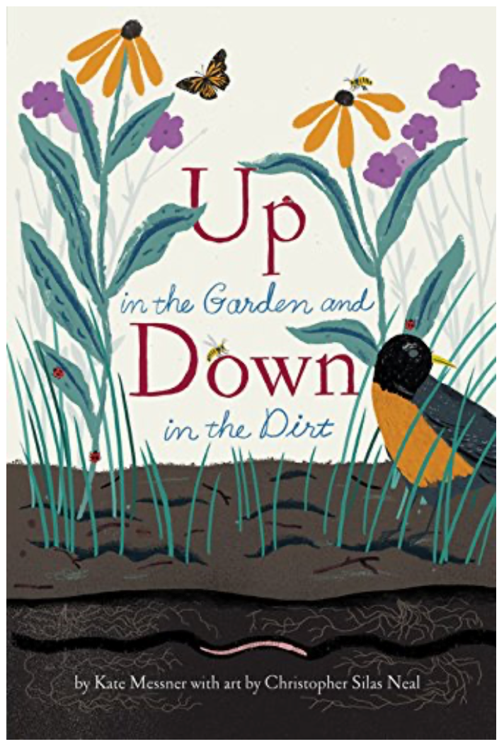 Picture book Up in the Garden and Down in the Dirt shows robin on the ground with flowers and butterflies