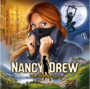 Nancy Drew The Silent Spy shows a woman pulling up her collar on trench coat with city scenand mountains in background