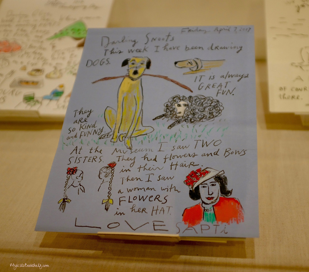 Maira Kalman would illustrate her letters; here is just one of the letters on display at The Eric Carle Museum of Picture Book Art