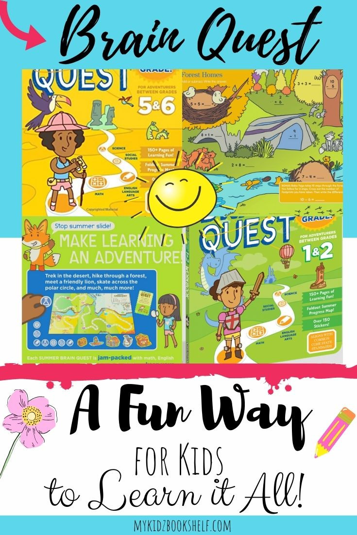 Summer Brain Quest Pinterest pin with sun, pencils, Toucan, workbook and waves
