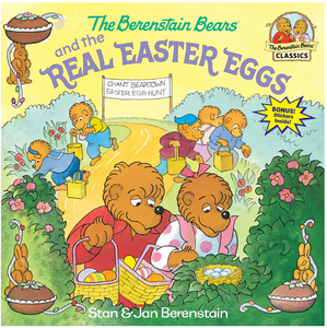 The Berenstain Bears and the Real Easter Eggs book cover shows Sister and Brother bear looking into next with birds eggs surrounded by bushes and other bears searching for Easter Eggs