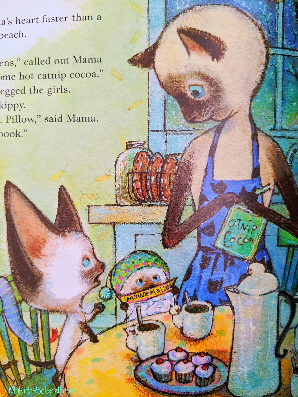 Skippy Jon Jones illustration shows Mama JuneBug Jones standing at kitchen table looking down at her Siamese cat son