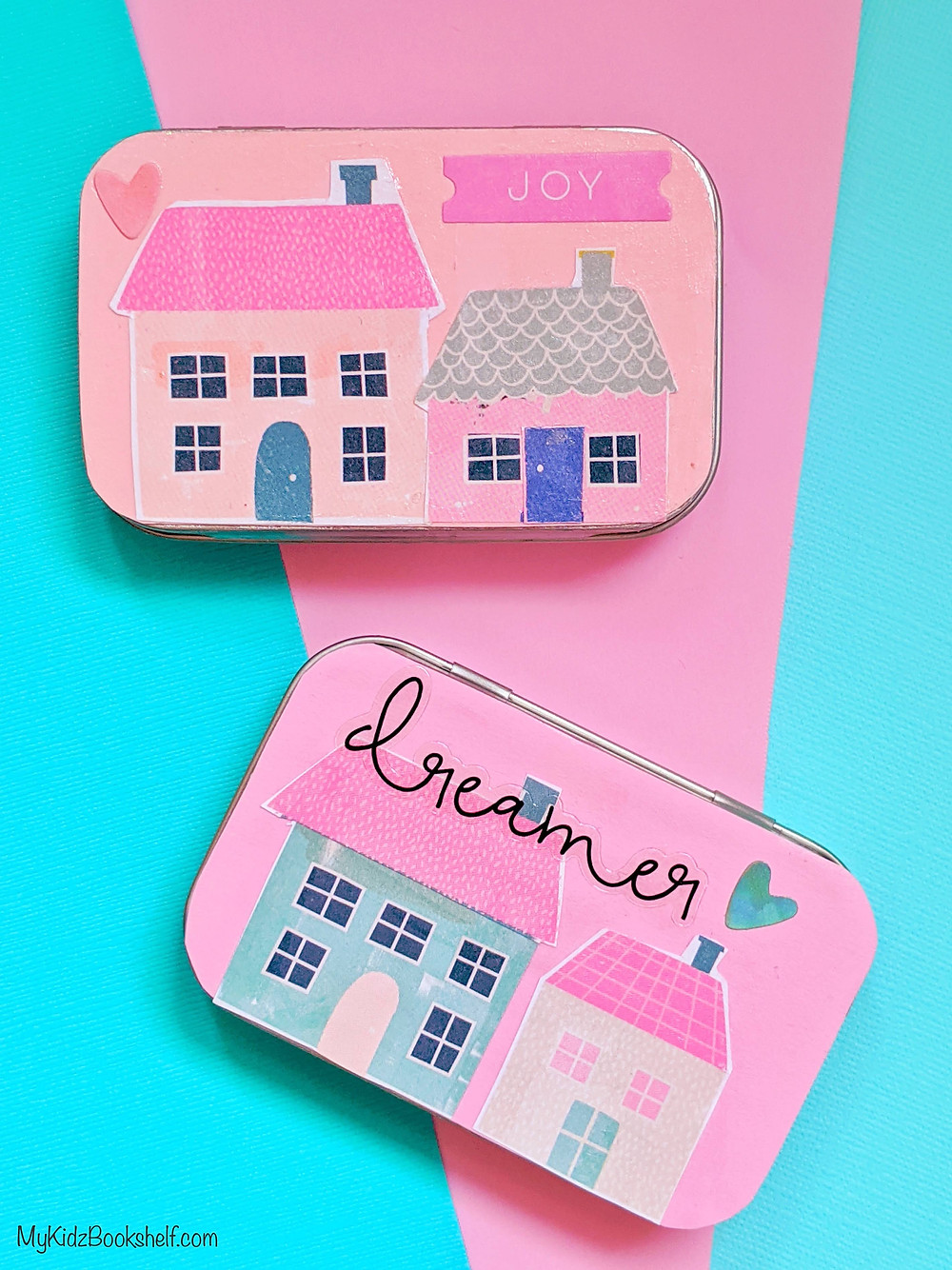 DIY Tiny House Tin box craft - a hinged tin with paper house images and words and hearts decoupaged onto cover