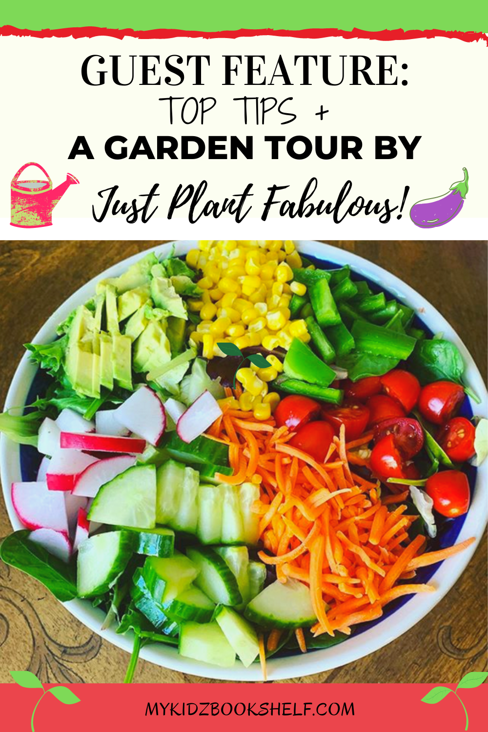 Guest feature Pinterest pin with Just plant Fabulous shows veggies in a bowl