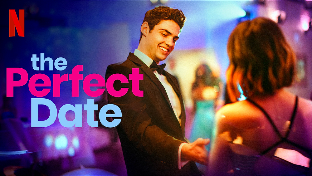 Movie poster from Netflix movie The Perfect Date shows young man in tux extending hand to young woman