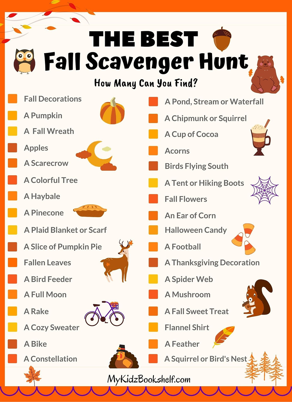The Best Fall Scavenger Hunt Free Printable