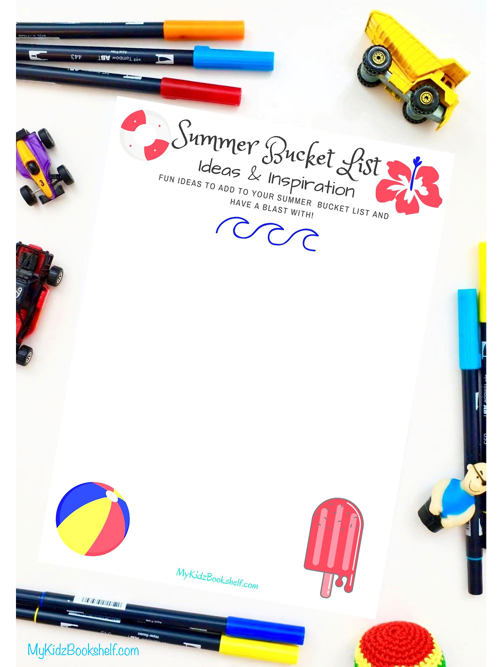Summer Bucket List Ideas & Inspiration Free Printable beach blue