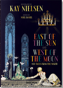 Book-cover-of-East-of-the-Sun-West-of-the-Moon-showing-a-young-man-sitting-at-an-alter-reaching-toward-a-robed-woman-with-tall-stained-glass-windows-and-a-palace