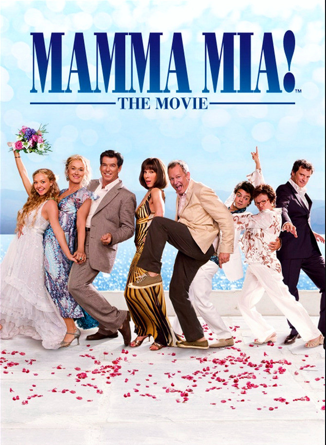Mamma Mia! the Movie poster showing cast Meryl Streep, Amanda Seyfried, Pierce Brosnan, Colin Firth, Julie Walters, Domink Cooper, Christine Baranski,
