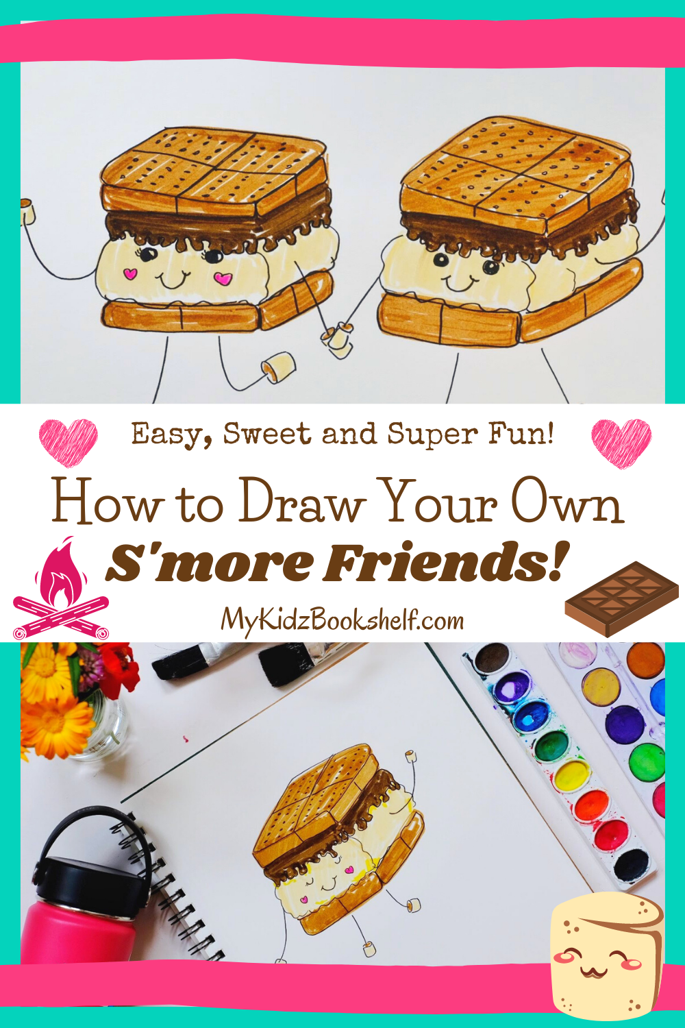 How to Draw Your Own S'more Friends Pinterest pin illustration of s'mores with art supplies