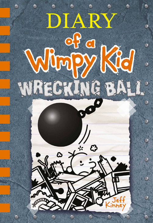 Diary of a Wimpy Kid Wrecking Ball by Jeff Kinney book cover with kid under rubble