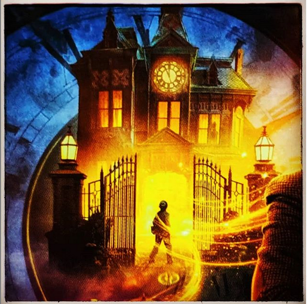 boy walking into haunted looking house with wind blowing from movie poster the House With a Clock In Its Walls