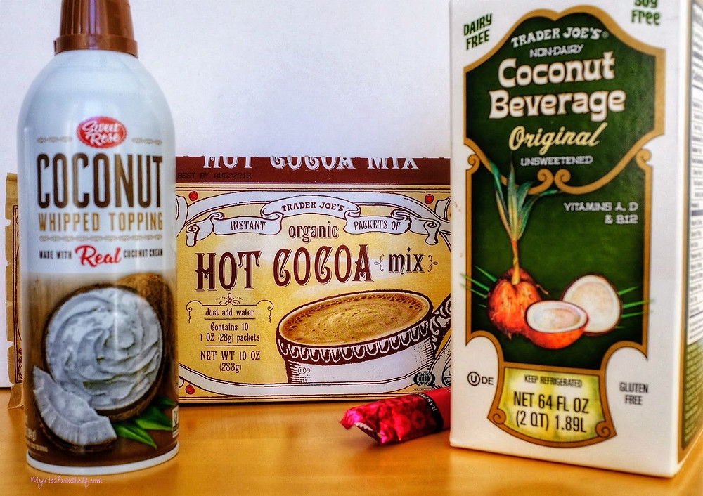 coconut-whipped-topping-Trader-Joe's-hot-cocoa-mix-raspberry-chocolate-bar-and-Coconut-beverage