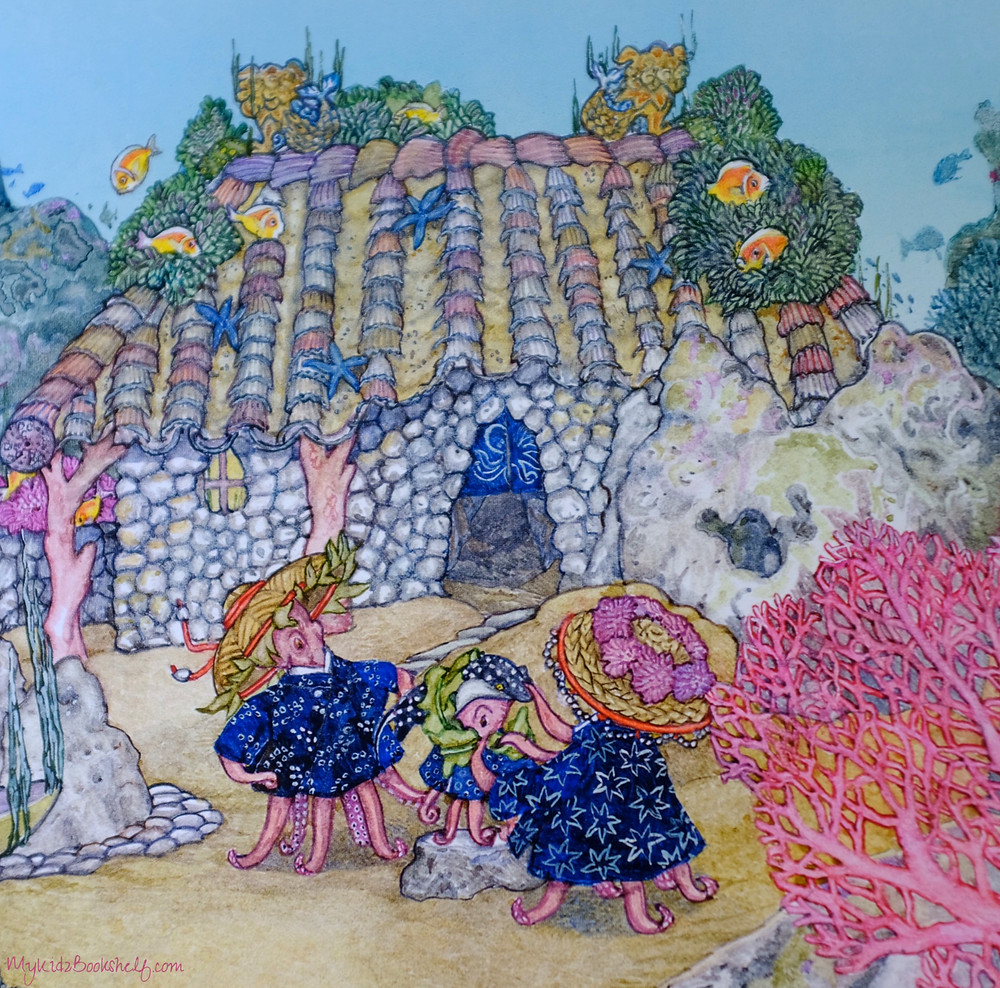 page from Jan Brett's book The Mermaid shows Octopus family outside their home in the ocean