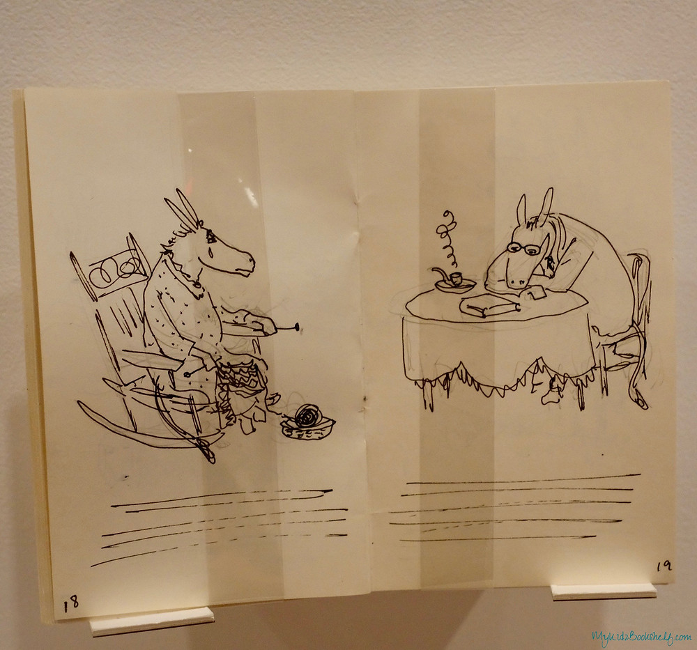 original sketches by William Steig of Sylvester and the Magic Pebble picture book donkey at dinner