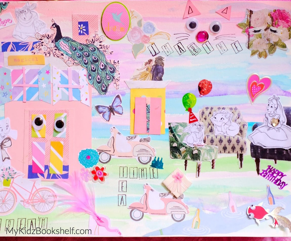paper craft DIY collage with scrapbook paper and printed images of peacock, Thumper, Aristocat, Alice in Wonderland, bike, moped, flowers, butterfly and more!