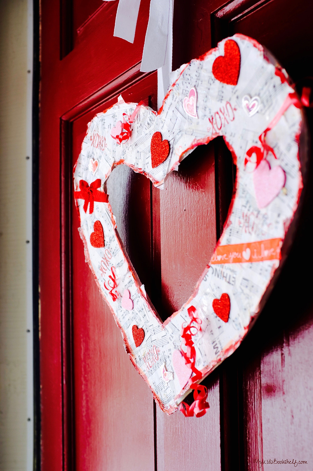 heart shaped wreath on door