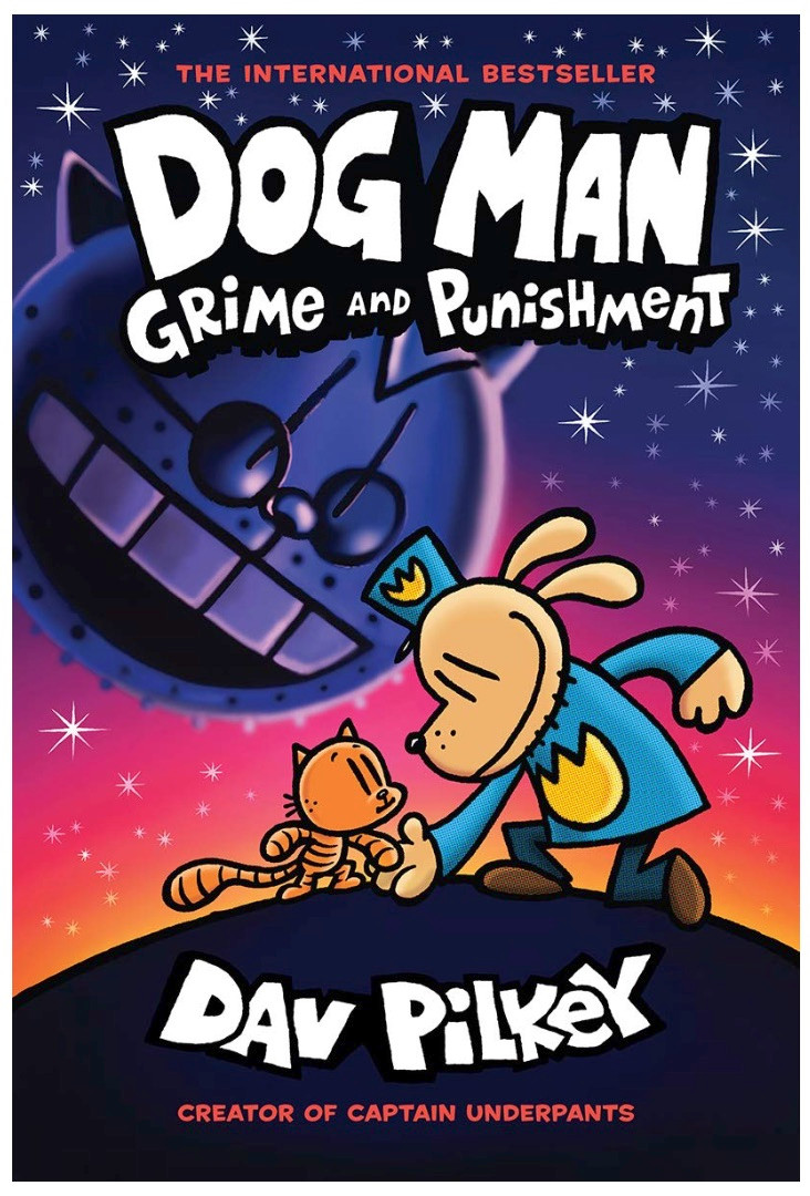 Dog Man Grime and Punishment book cover by Day Pilkey shows dog shaking paws with cat