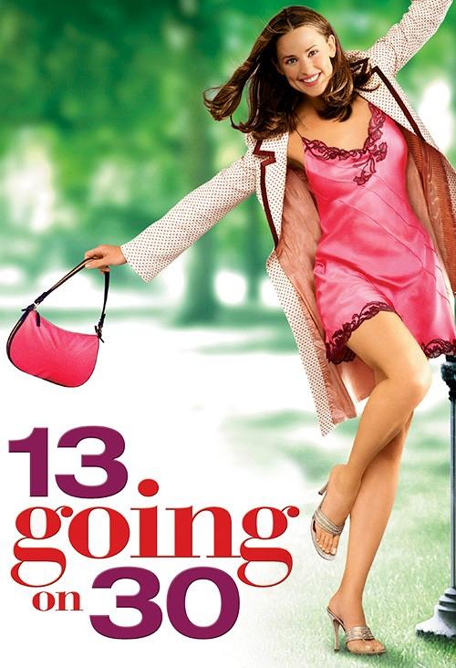 Movie poster 13 Going on 30 shows Jennifer Garner in slip dress dancing in park