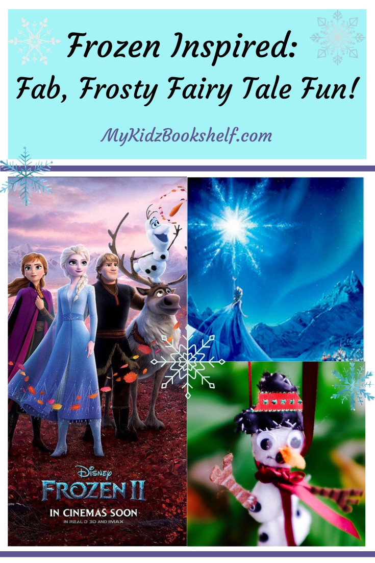 Frozen Disney Pinterest pin with Elsa, Anna, Olaf, snowman ornament and Sven