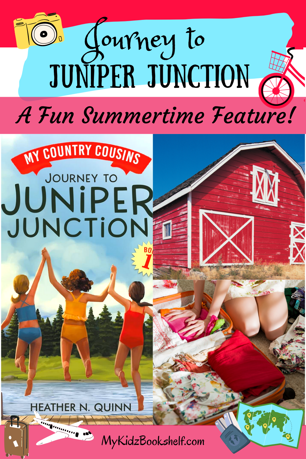 Journey to Juniper Junction Pinterest pin shows book cover, barn and suitcase