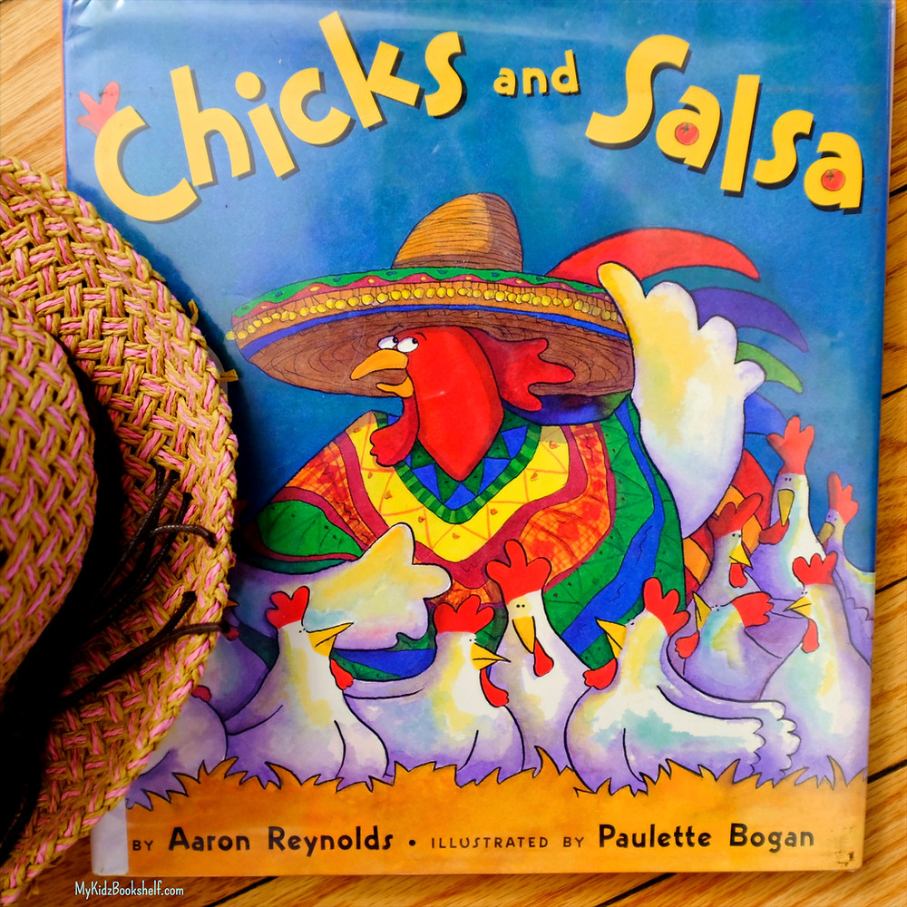 book cover with illustration of rooster wearing a Mexican sombrero surrounded by hens