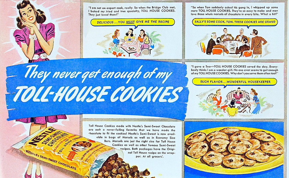 Nestle toll house chocolate chip vintage cookie ad