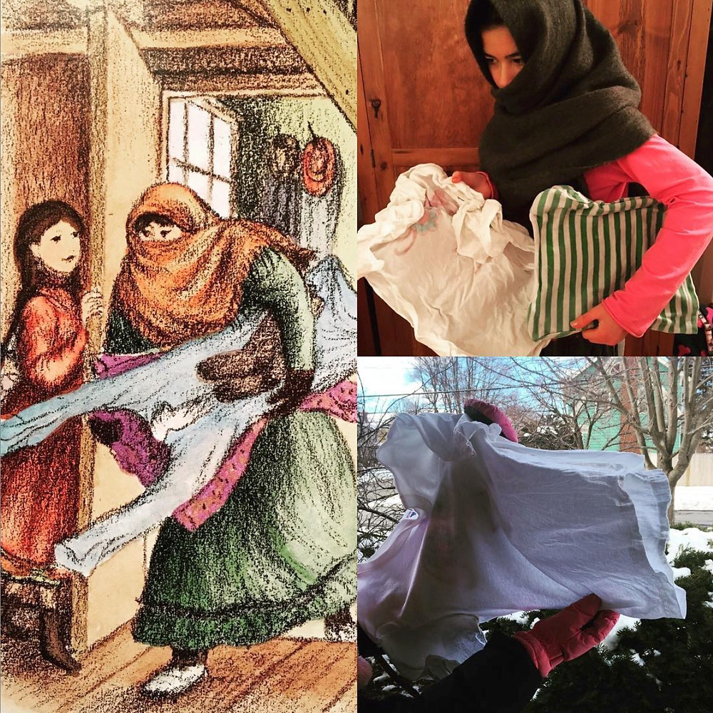 Frozen Laundry scene from The Long Winter Little House book by Laura Ingalls Wilder shows girl holding frozen laundry